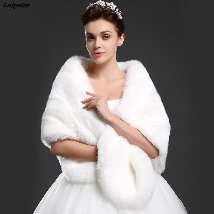 new arrival winter bride faux fur shawl imitation fox wrap wedding unreal white black red fluffy warm cape