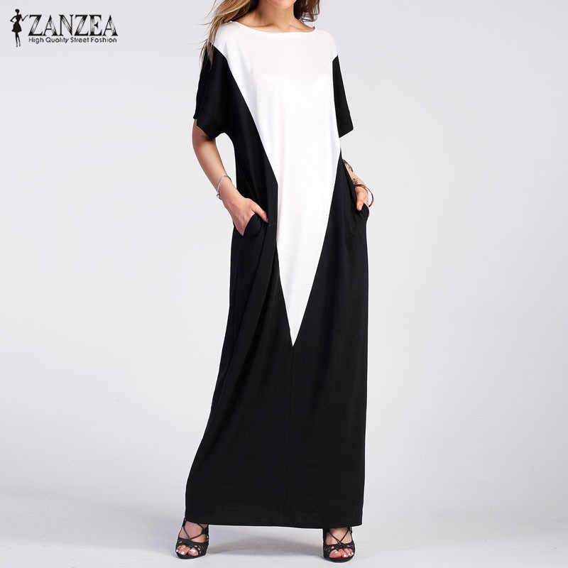 ZANZEA женское платье-Кафтан 2019 летний сарафан винтажные длинные макси Vestidos женские повседневные платья с круглым вырезом Вечерние пляжное платье Femme