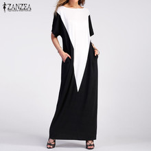 2017 Plus Size ZANZEA Women Summer Pockets Beach Vestido Sundress Ladies Party Casual O-Neck Short Sleeve Maxi Long Dress Kaftan
