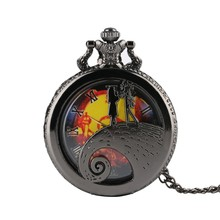 Top Geschenken Tim Burton De Nightmare Before Christmas Quartz Zakhorloge Jack Skellington Hanger Horloge Zwart Zilver Ketting(China)