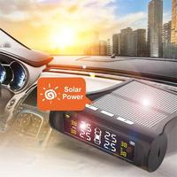Car TPMS Wireless Tire Pressure Monitor Alarm System+4 External Sensor Tyre Detector Real time Monitoring Solar/USB Charge Power