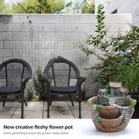 1pc Flowerpot Resin Flower Pot Succulent Planter Plant Pot Holder Garden Home Room Desk Decoration Gifts Flower Pots & Planters