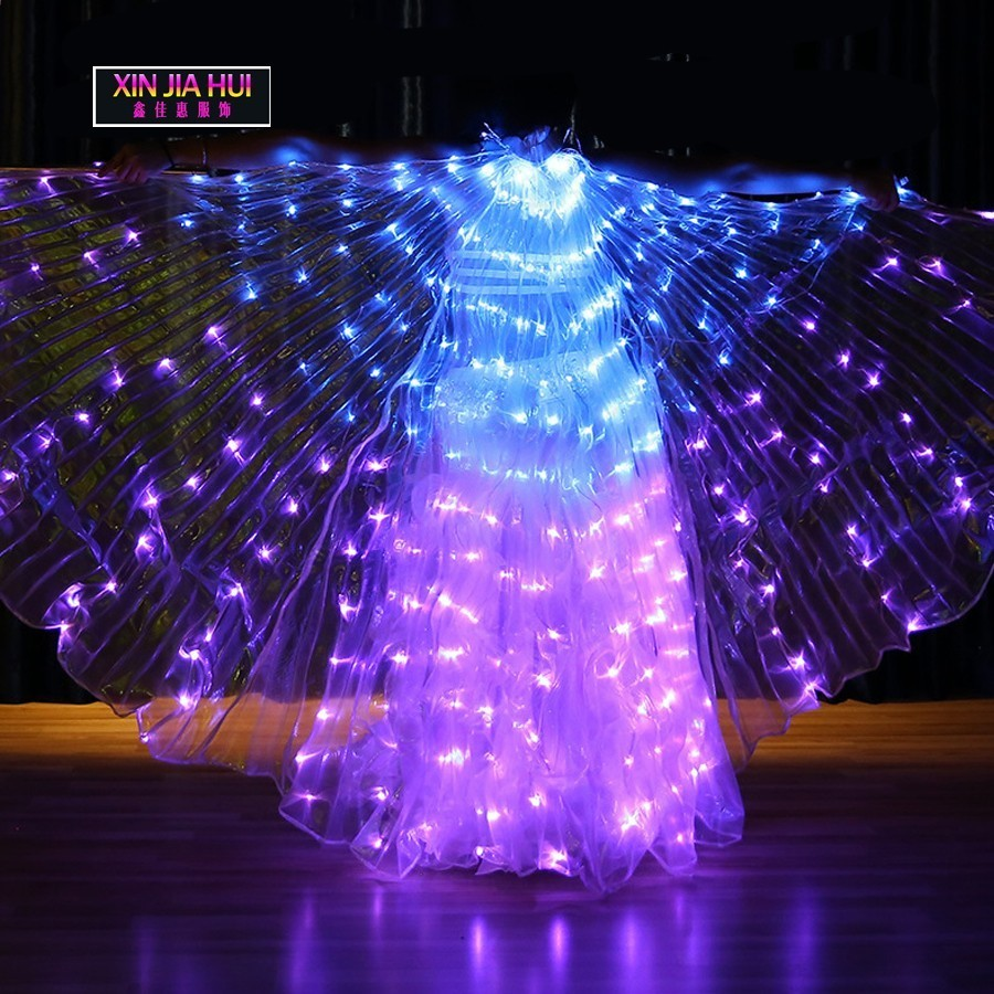 Changing Colour Varal De Traje Led Lights Luminescence Wing Belly Dance Prop Performance Show Circus Bellydance Shiny Flashed