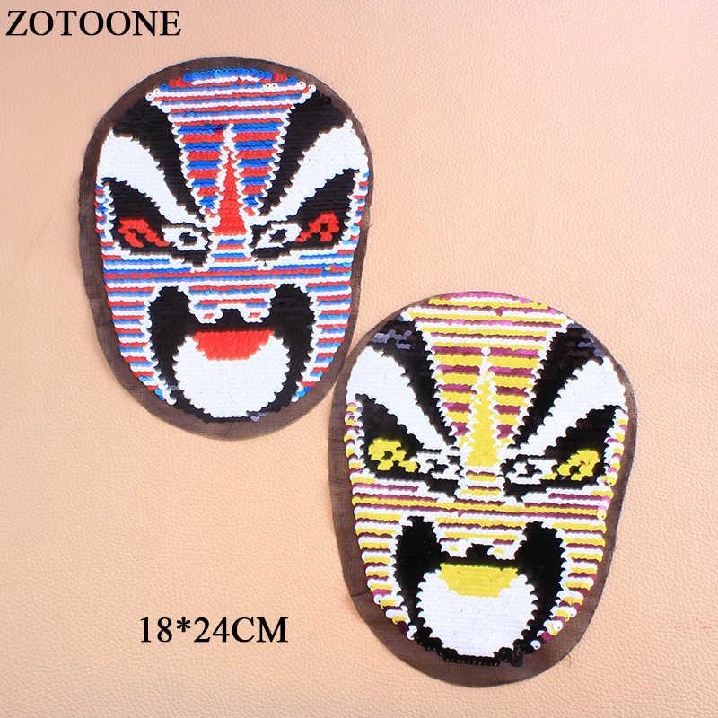 ZOTOONE 얼굴 가역 스팽글 의류에 대한 패치 응용 프로그램에 바느질 DIY 공예 코트 스웨터 수 놓은 패치 Applique E