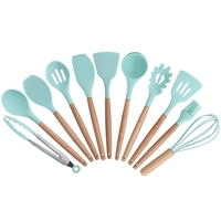 11 Pieces Silicone Cooking Utensils Set Kitchen Cooking Tools Set With Natural Wooden Handle Nonstick Cookware