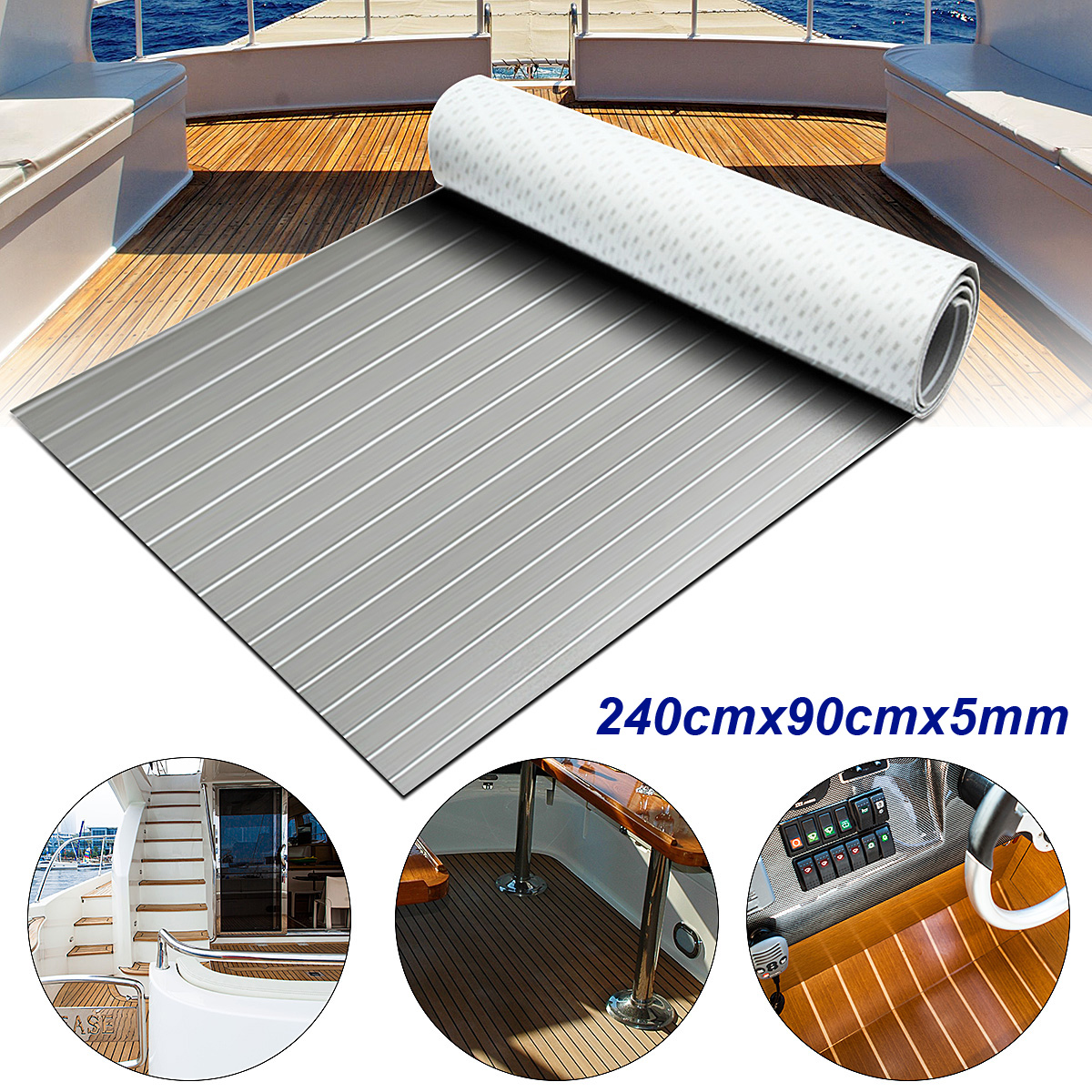 Self-Adhesive 240cmx90cmx5mm Teak Decking EVA Foam Marine Flooring Faux Grey White Lines EVA Foam Boat Decking Sheet Accessories