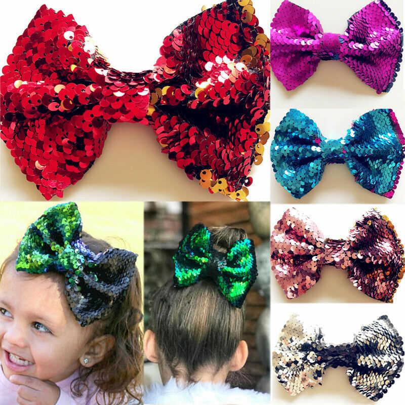 LOVELY Baby Rainbow FlipperSequins Hairpin Girl Glittering Mermaid Bow Hair Clip