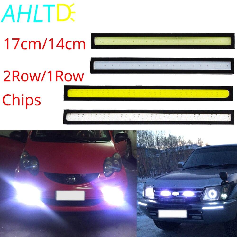 1 pçs carro led drl 17 cm/14 cm 2row/1row led cob condução nevoeiro lâmpada dupla luzes diurnas auto atualização à prova dwaterproof água brilhante lâmpada