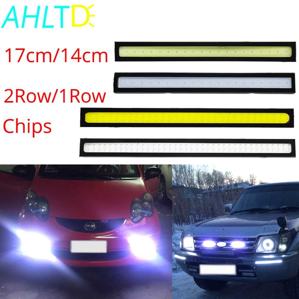 1Pcs 17cm/14cm 2Row/1Row Led Car DRL COB Driving Fog lamp Double Daytime Running lights Auto Waterproof Update Ultra Bright LED
