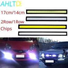 1Pcs Car Led DRL 17cm/14cm 2Row/1Row COB Driving Fog lamp Double Daytime Running lights Auto Waterproof Update Bright Bulb