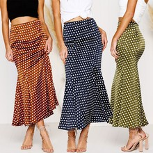Vintage Women Skirts Summer Boho Flare Pleated Casual Polka Dots Party Maxi Long Beach Sundress Ladies Fashion Retro Skirts(China)
