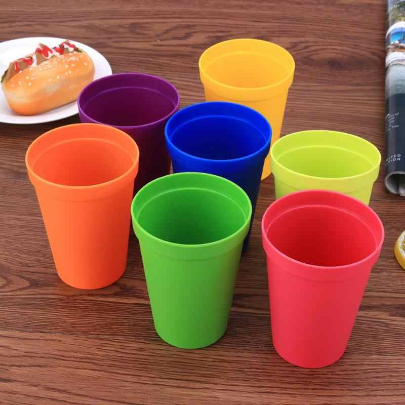 7Pcs Rainbow Set Cup Picnic Travel Portable Color Plastic Cups Barbecue Camping Festival Birthday Cups Tea Cup Set