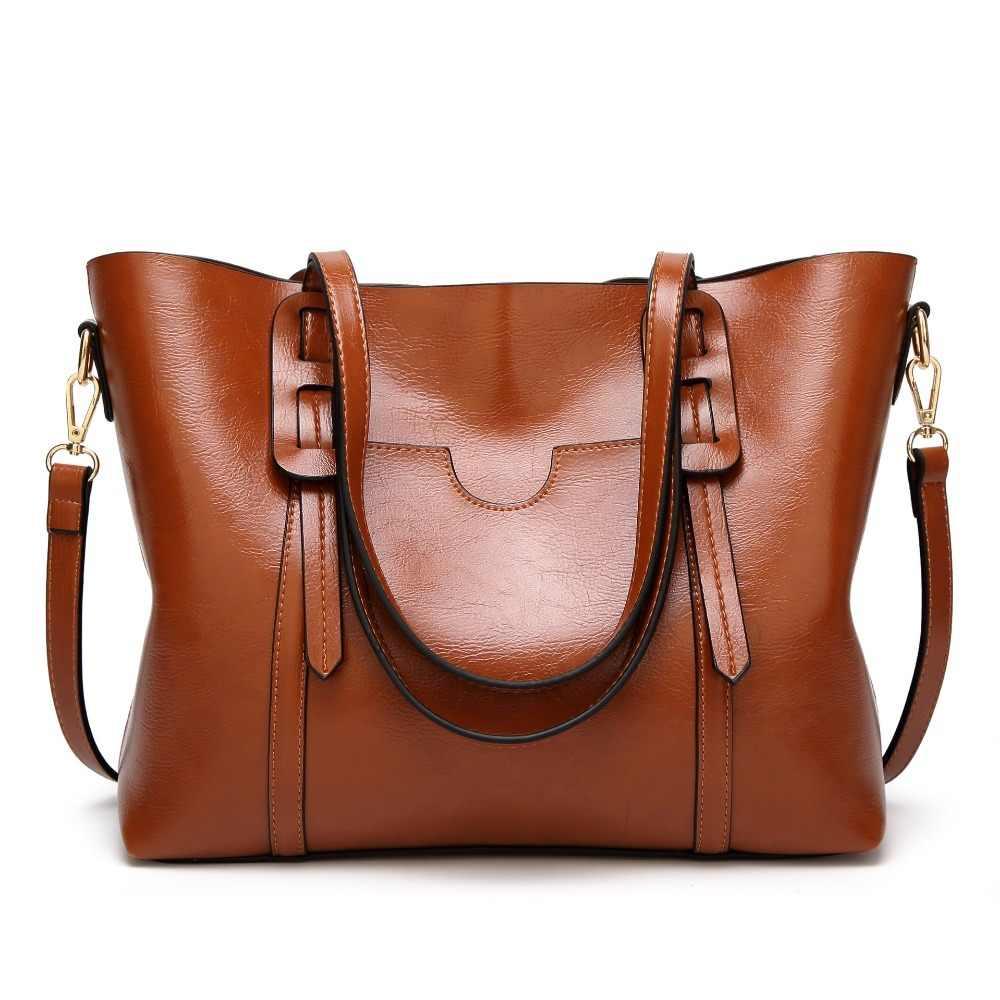 حقائب كتف فاخرة للنساء من الجلد بسعة كبيرة حقائب يد جلدية مزينة بالزيت حقيبة كروس للنساء حقيبة يد Bolsas 2019 C834