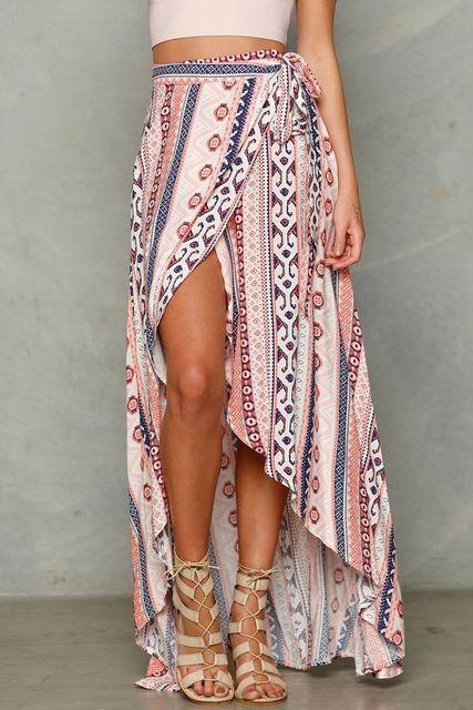 Bandage Maxi Boho Skirt