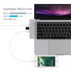 Image 4 - Dodocool 합금 7 in 1 듀얼 USB C USB C 허브 (4K HD SD/TF 카드 리더기 포함) 3 USB 3.0 허브 Thunderbolt Type C 허브 (MacBook Pro 용)