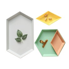 4pcs/set Geometric Storage Serving Tray Adjustable Plastic Dish Plate for Fruit Food Candy Kitchen Decoration