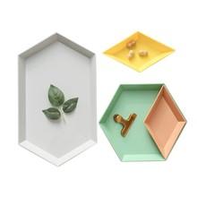 4pcs/set Geometric Storage Serving Tray Adjustable Plastic Dish Plate for Fruit Food Candy Kitchen Decoration