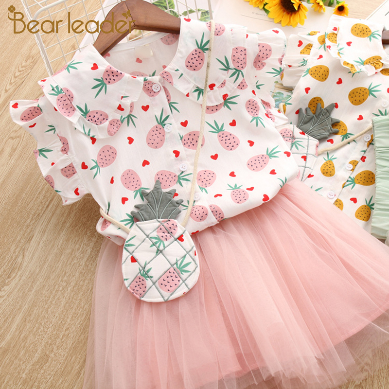 Bear Leader Girls Clothing Sets 2019 Summer Cute Princess Girl Strawberry Shirt + Gauze Dress 2PCS Pineapple Children Clothing