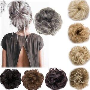 Image 1 - מתולתל מבולגן Bun שיער חתיכה גומיית תסרוקת גבוהה כיסוי שיער הרחבות אמיתי כמו אדם חג DIY קישוטים