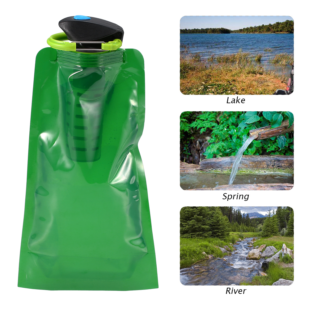 750ml Outdoor Emergency Water Filter Bag BPA Free Water Bladder Safety & Survival Camping Water Filtration Bottle with Carabiner