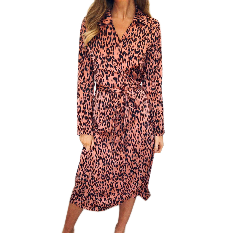 Women Chiffon Dress Elegant V-Neck Long Sleeve Leopard Print Dress Fashion Irregular Hem Lace Party Holiday Spring Dress