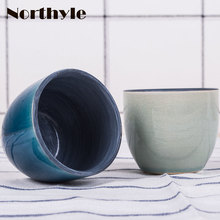 Mini ceramic flower pot blue vase home decortion porcelain flowerpot terrarium christmas decoration