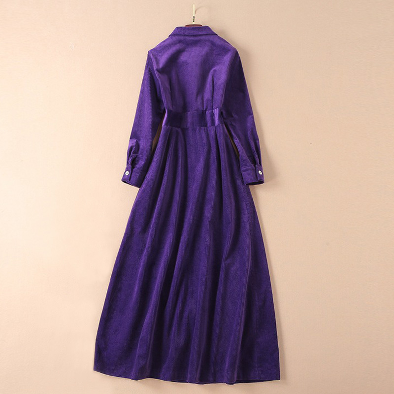 Image 3 - clothes women outwear runway 2019 fall winter woman corduroy  purple coat flap pockets a line long sleeve maxi trench coatTrench   -