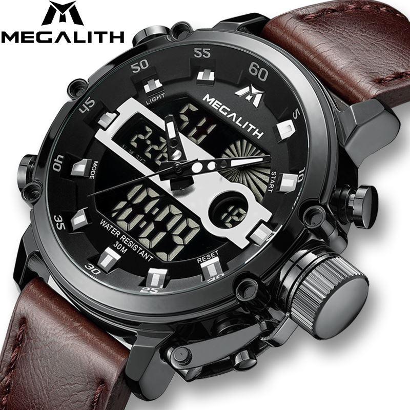 MEGALITH mode LED Sport montre à Quartz décontracté étanche militaire multifonction montres avec Date hommes horloge Reloj