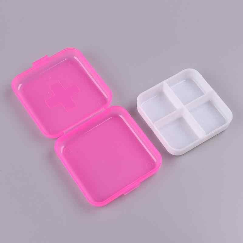 1pc przenośny 4 siatki pudełko na pigułki lek pojemnik na tabletki, leki uchwyt na Splitter schowek na okulary organizator pojemnik Case DX