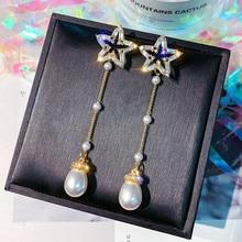 FYUAN Pentagram Zircon Drop Earring for Women Long Tassel Pearl Pendant Dangle Earrings Wedding Bride Jewelry Gifts цена 2017