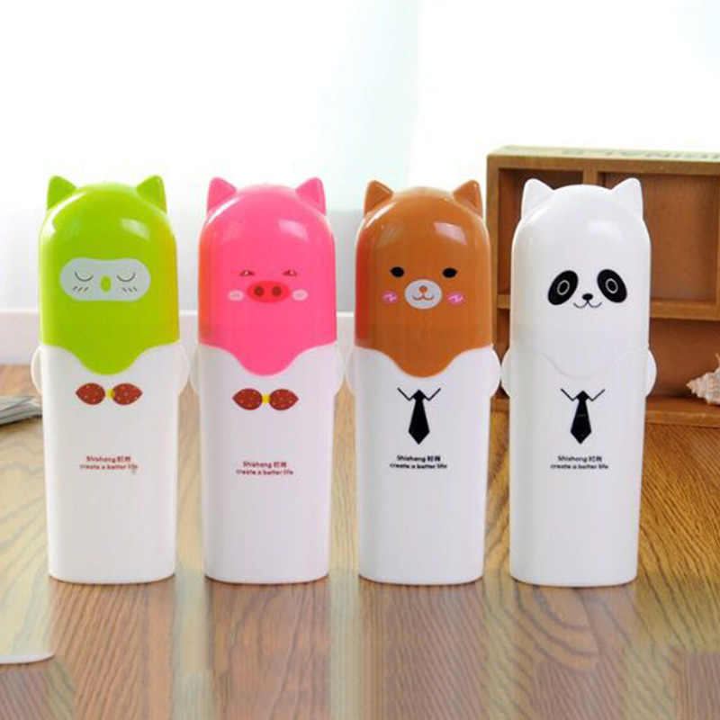 Plastic Cartoon Panda Bear Pig Protable Toothbrush Storage Box Tooth Mug Toothpaste Towel Cup Organizer Bathroom Tool