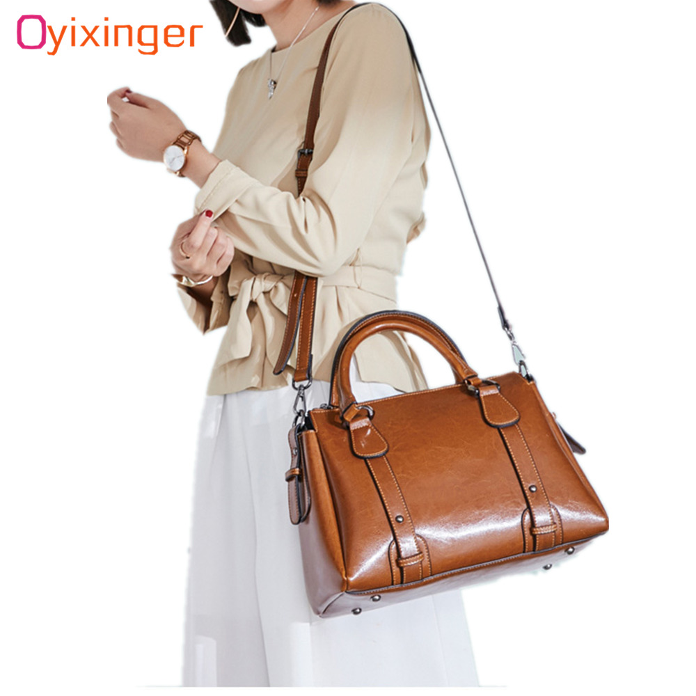 OYIXINGER 2019 Large Capacity Totes Bag Women s Handbags Genuine Leather Shoulder Bags For Office Lady