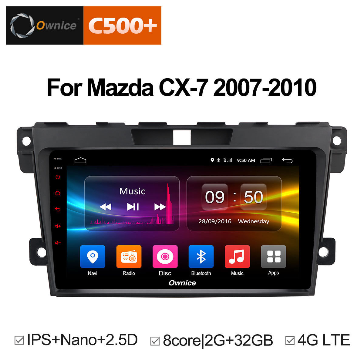 Ownice Multimedia <font><b>2Din</b></font> Steering Wheel Android 8.1 Unit For <font><b>Mazda</b></font> <font><b>Cx</b></font>-<font><b>7</b></font> <font><b>CX</b></font> <font><b>7</b></font> CX7 Car DVD Player Stereo Vehicle GPS Navigation 2.5D image