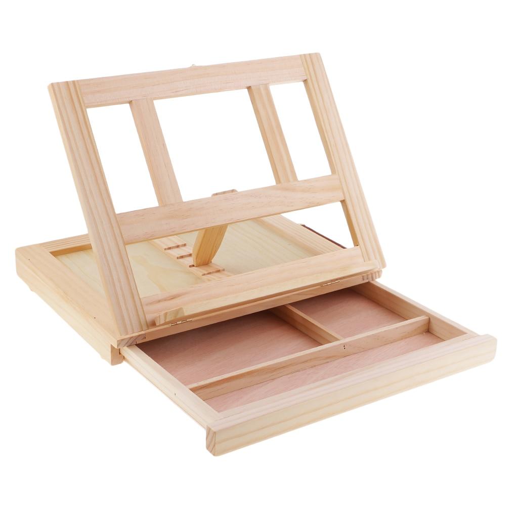 Художники, регулируемая настольная коробка, мольберт из натурального дерева, деревянный стол, мольберт с ящиком для хранения, товары для ру