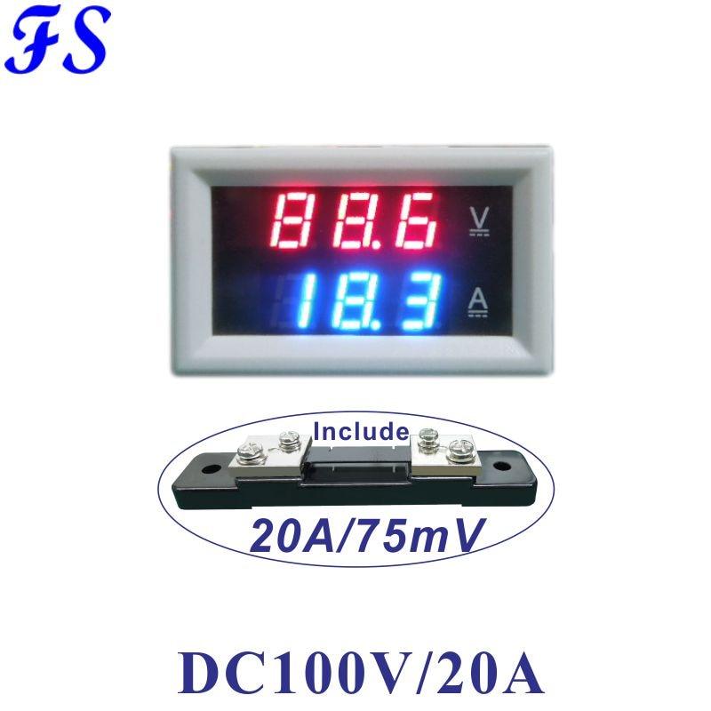 Digital Dual LED Voltmeter Ammeter DC 600V 20A Voltage Current Meter