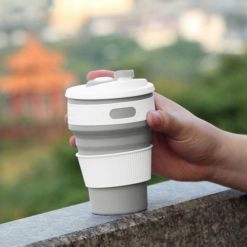 Coffee & Tea Tools 2PCS Silicone Tumbler Folding Cup Portable Coffee Cup Travel Outdoor Creative Water Cup Gift