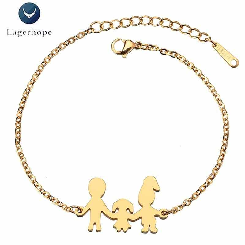 Family Series Bracelet For Women Stainless Steel New Jewelry Mom Dad And Baby Hand In