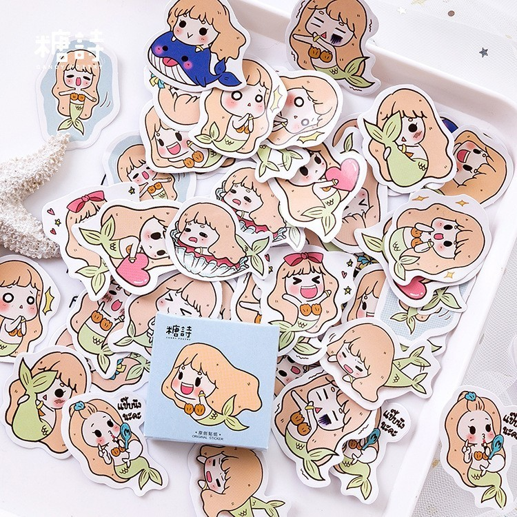 45PCS/box Ariel The Little Mermaid Paper Lable Sealing Stickers Crafts Scrapbooking Decorative Lifelog DIY Stationery Sticker