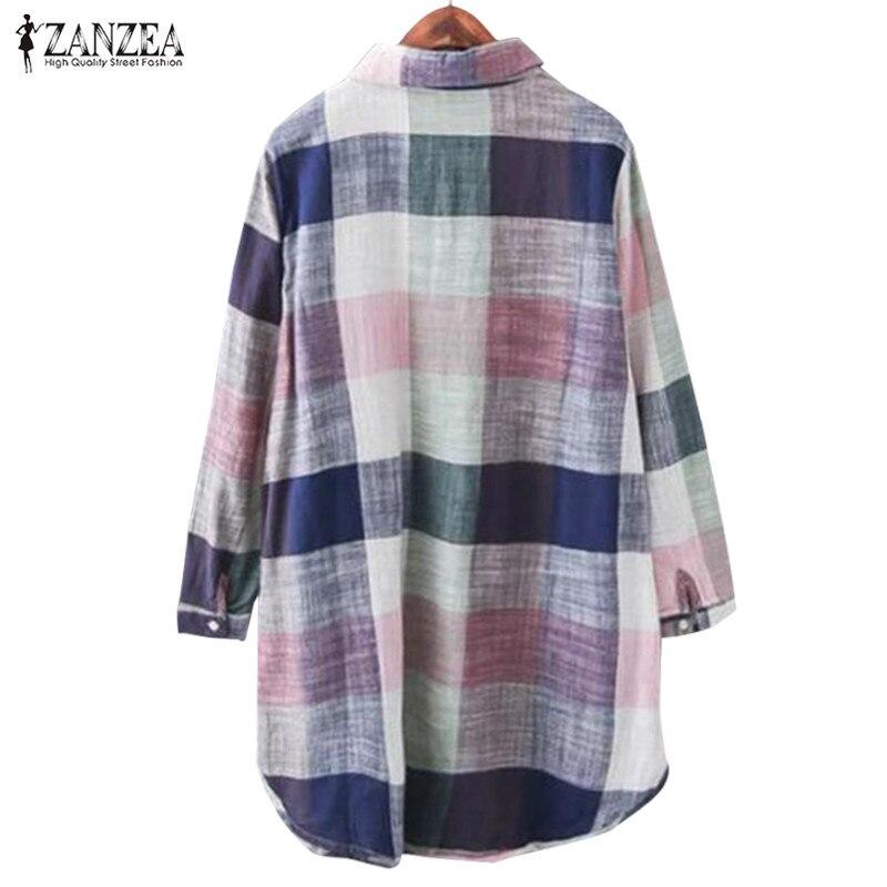 e4873b638836 Blusa a cuadros de primavera ZANZEA mujer Vintage cuello de solapa de manga  larga camisa Casual ...