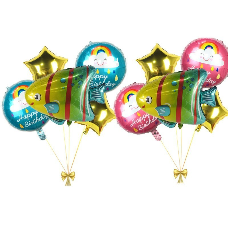 5pcs Large Fish Foil Balloons Babyshower And Gender Reveal Ballons Birthday Party Decor Kids Ocean Gift Childrens Toy
