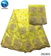 LIULANZHI Yellow african bazin riche fabric yellow lace 2018 jacquard designs 5+2yards/set for big occasion 2B28