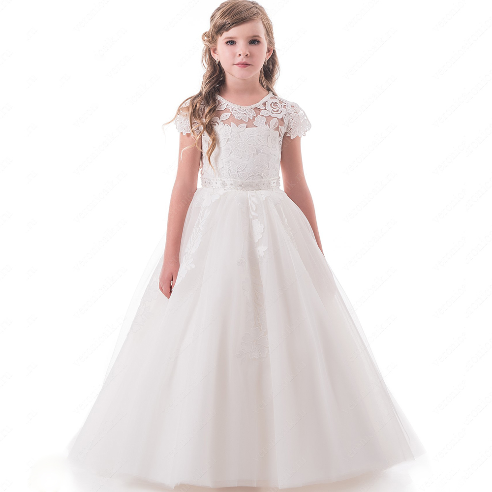 2019 New   Flower     Girls     Dress   For Wedding White/Ivory Short Sleeves Ball Gown Formal Appliques Lace First Communion Gown Vestidos