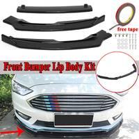New 3Pcs Car Front Lip Bumper Spoiler Splitters Body Kit For Ford For Fusion For Mondeo 2017 2018 Carbon Fiber Look/Gloss Black