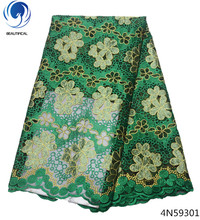 Beautifical lace fabric green American african high quality flower dress materials 5yards/lot 4N593