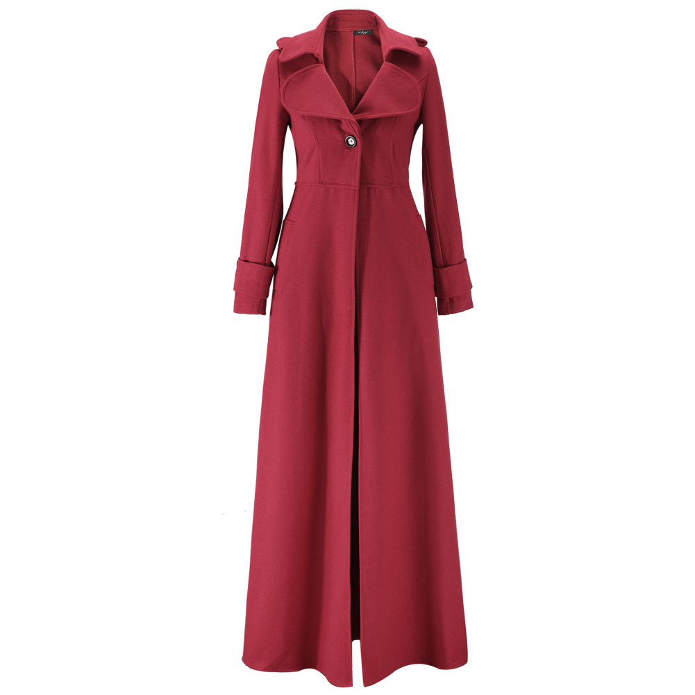 100% Wahr Zan. Stil Frauen Mode Winter Warm Woolen Mantel Lange Jacken Einfarbig Hohe Taille Schlank Vintage Mäntel Weibliche Oberbekleidung Kleidung