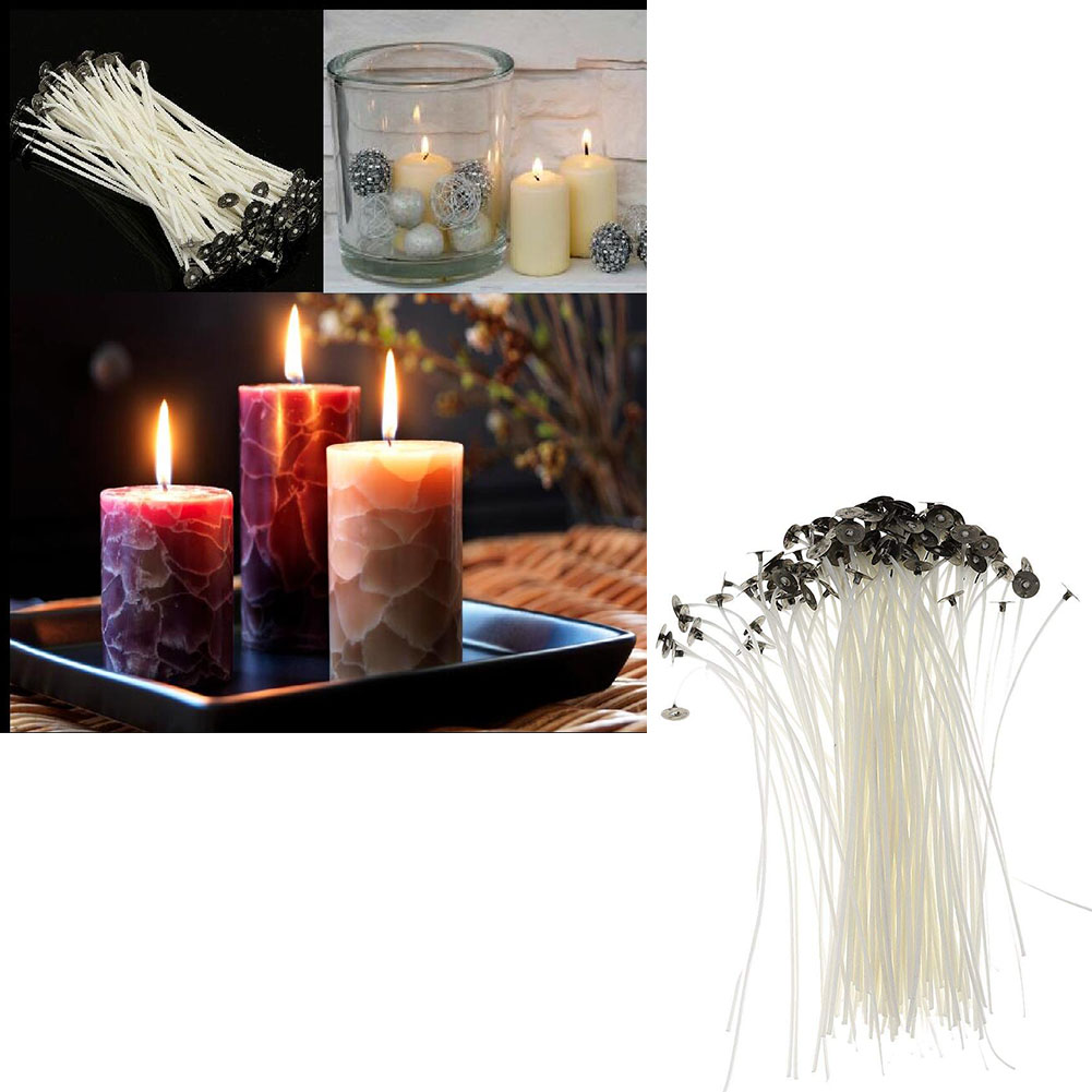 30PCs 10cm Candle Wicks Cotton Core Waxed With Sustainers DIY Candle Making