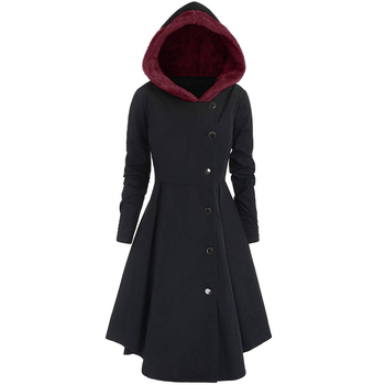 Winter Women Long Trench Coat Black Gothic Button Vintage Overcoat Tunic Slim Lady New Retro Outwear Tops Female Hooded Coats overcoat