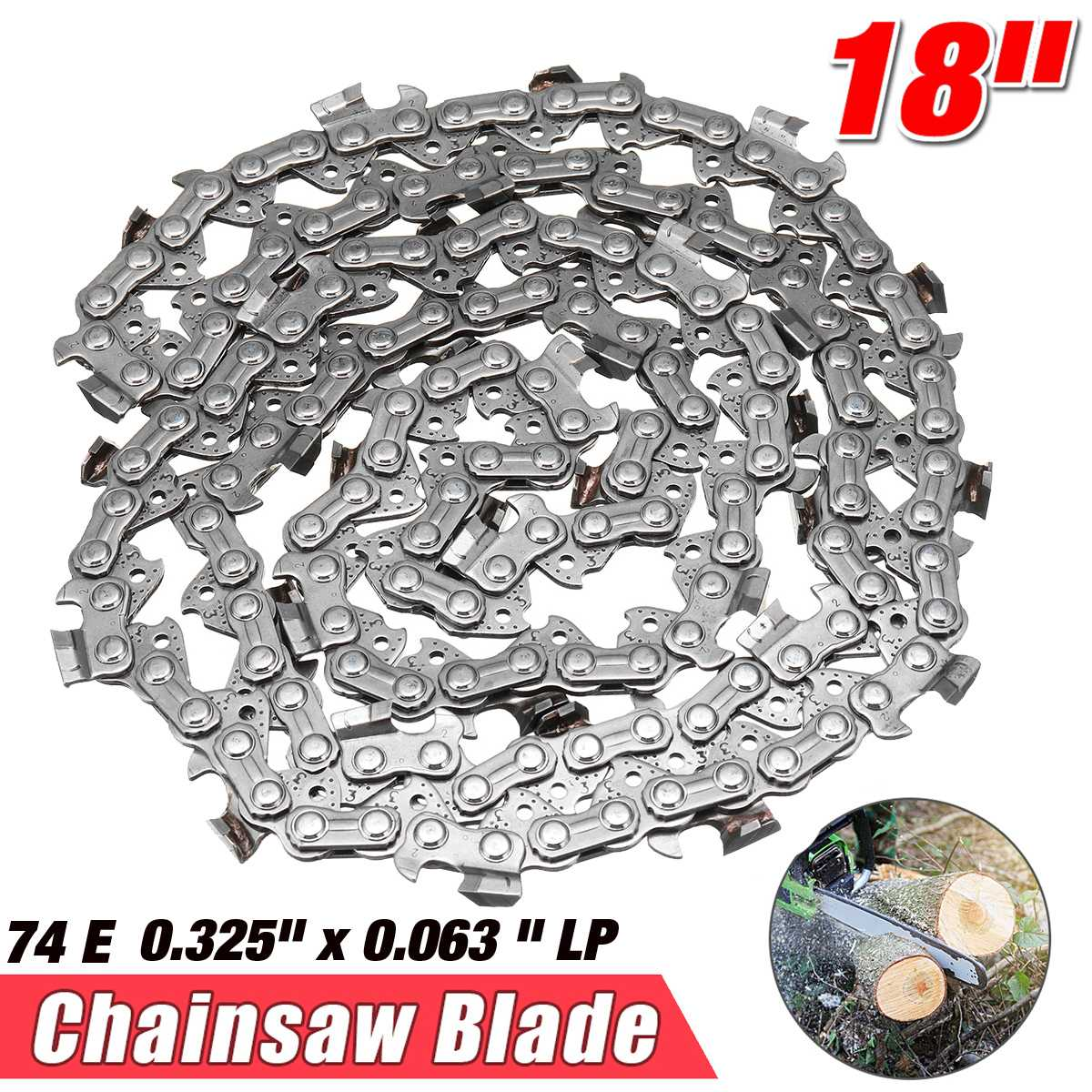 14/18 inch 52DL/74E Garden Chain Saws Alloy Solid Carbide Chainsaw Chain Link Bar 3/8 x 0.050/0.325