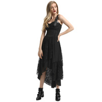 Women Vintage Punk Dress Victorian Style Lace up Irregular Hem Sleeveless 2018 Summer Sexy black Party Retro Lace Gothic Dresses