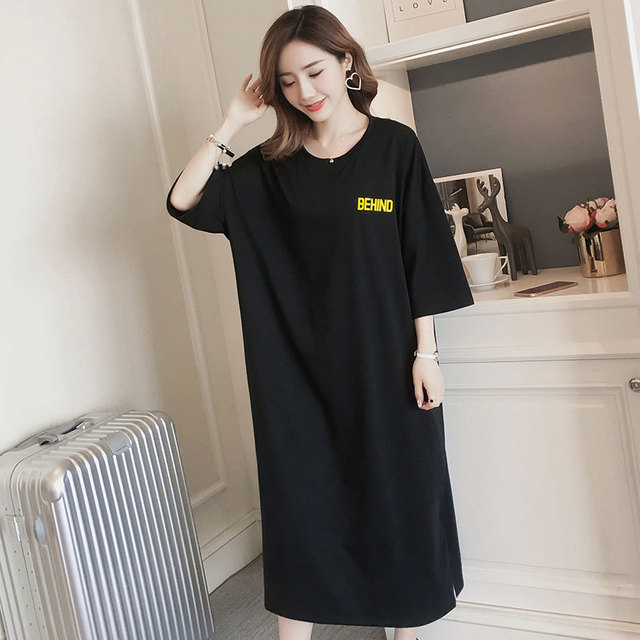 #4953 Summer Short Sleeve T Shirt Dress Women Black Back Print Cotton Round Neck Dress Straight Loose Plus Size Womens Clothing
